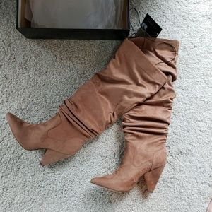 F21 Slouchy Knee-High Camel Suede Boots